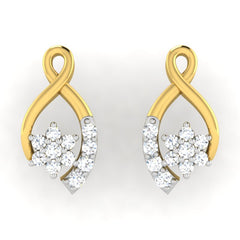 diamond studded gold jewellery - Alisa	 Earring Tops - Pristine Fire - 2