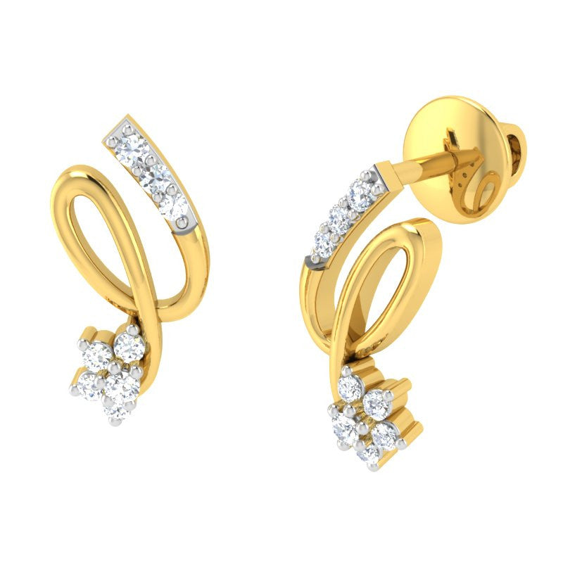 diamond studded gold jewellery - Aliya	 Earring Tops - Pristine Fire - 1