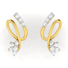 diamond studded gold jewellery - Aliya	 Earring Tops - Pristine Fire - 2
