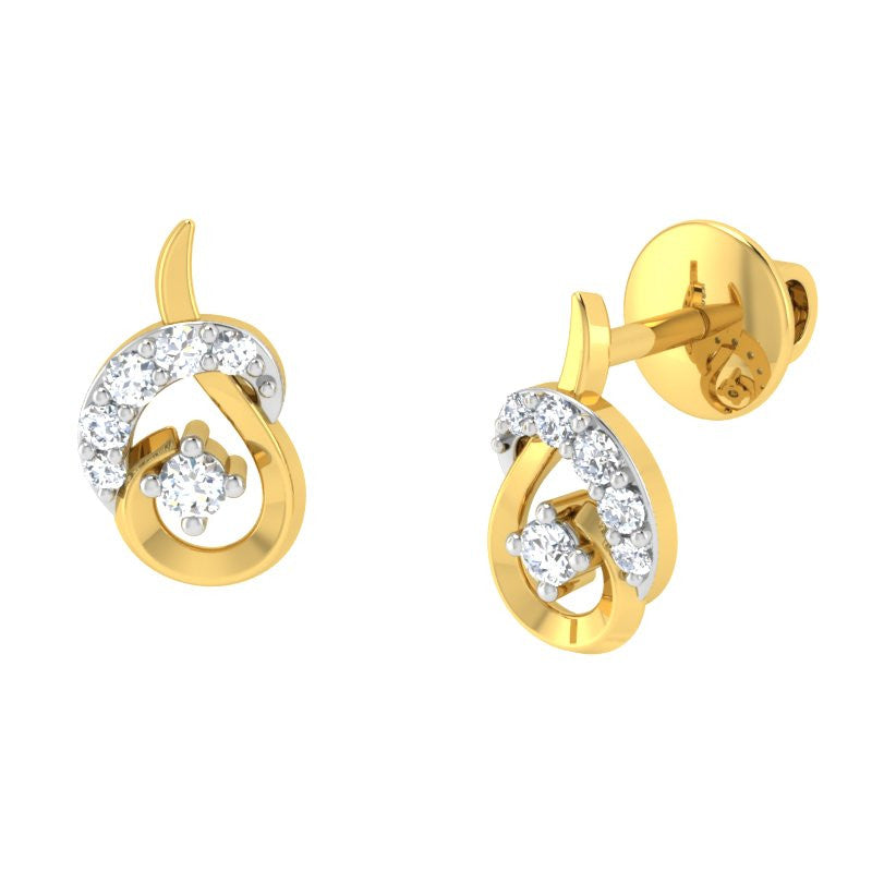 diamond studded gold jewellery - Alora	 Earring Tops - Pristine Fire - 1