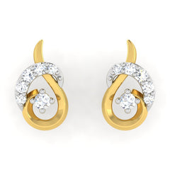 diamond studded gold jewellery - Alora	 Earring Tops - Pristine Fire - 2