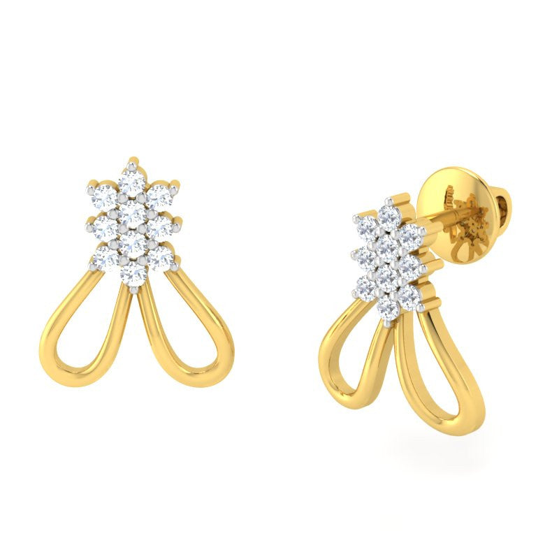 diamond studded gold jewellery - Amber	 Earring Tops - Pristine Fire - 1
