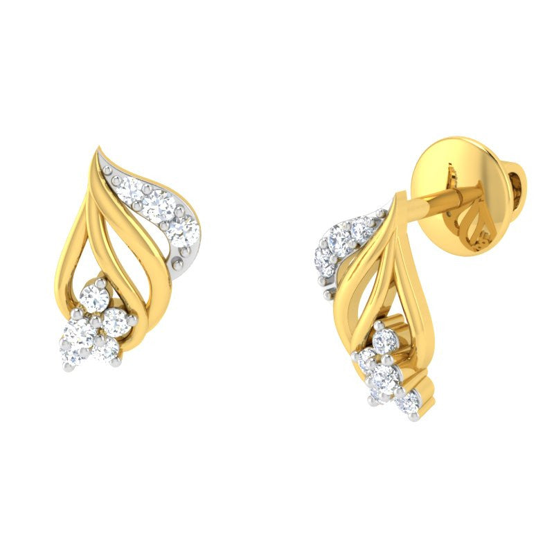 diamond studded gold jewellery - Amity	 Earring Tops - Pristine Fire - 1