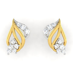 diamond studded gold jewellery - Amity	 Earring Tops - Pristine Fire - 2