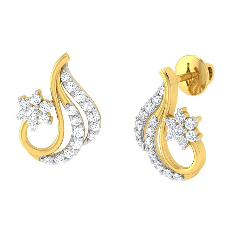 diamond studded gold jewellery - Anaya	 Earring Tops - Pristine Fire - 1