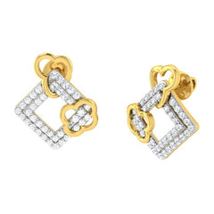 diamond studded gold jewellery - Aneta	 Earring Tops - Pristine Fire - 1