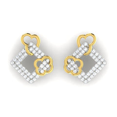 diamond studded gold jewellery - Aneta	 Earring Tops - Pristine Fire - 2