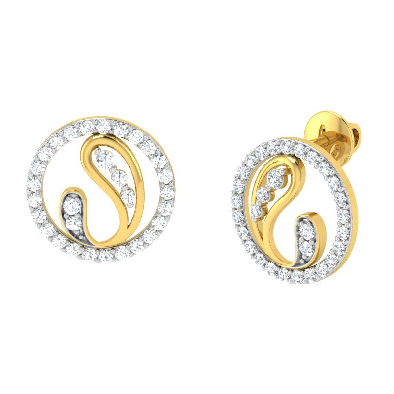 diamond studded gold jewellery - Anika	 Earring Tops - Pristine Fire - 1
