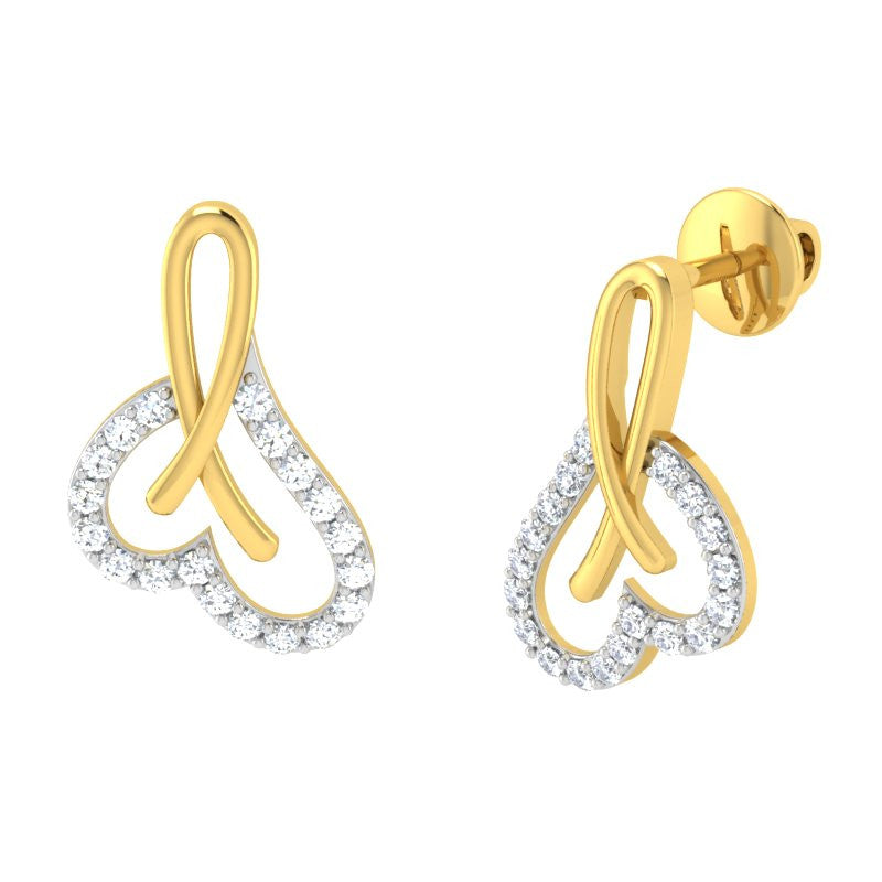 diamond studded gold jewellery - Anila	 Earring Tops - Pristine Fire - 1