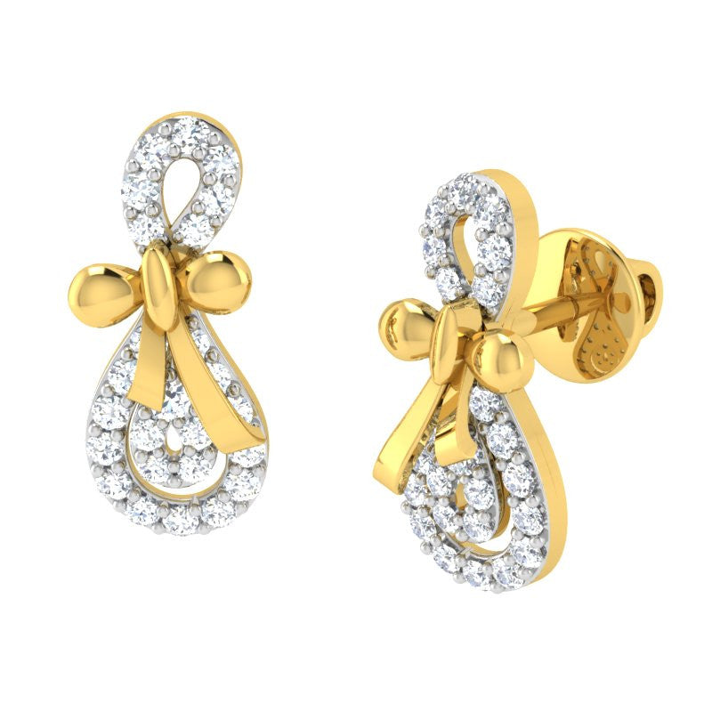 diamond studded gold jewellery - Anita	 Earring Tops - Pristine Fire - 1