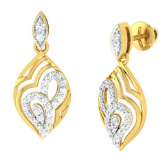diamond studded gold jewellery - Annie	 Dangler Earring - Pristine Fire - 1