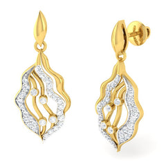 diamond studded gold jewellery - April	 Dangler Earring - Pristine Fire - 1