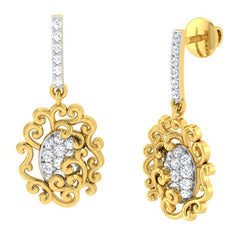 diamond studded gold jewellery - Araya	 Dangler Earring - Pristine Fire - 1