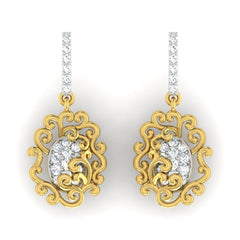 diamond studded gold jewellery - Araya	 Dangler Earring - Pristine Fire - 2