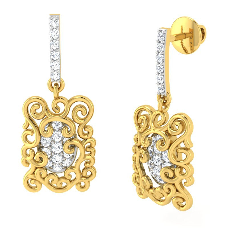 diamond studded gold jewellery - Arden	 Dangler Earring - Pristine Fire - 1