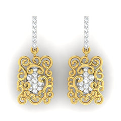 diamond studded gold jewellery - Arden	 Dangler Earring - Pristine Fire - 2