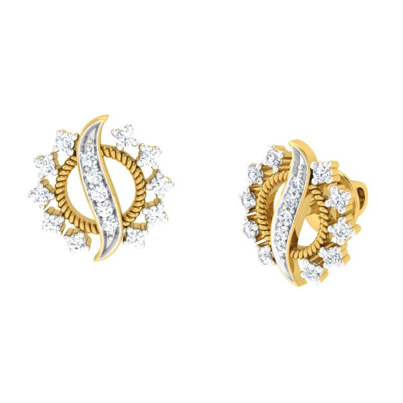 diamond studded gold jewellery - Arika	 Earring Tops - Pristine Fire - 1