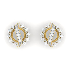 diamond studded gold jewellery - Arika	 Earring Tops - Pristine Fire - 2