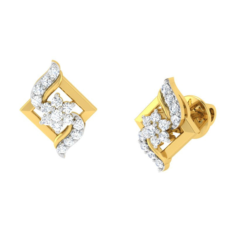 diamond studded gold jewellery - Asako	 Earring Tops - Pristine Fire - 1