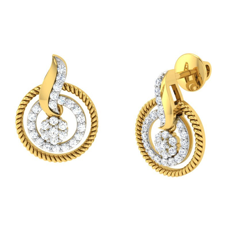 diamond studded gold jewellery - Ashly	 Earring Tops - Pristine Fire - 1