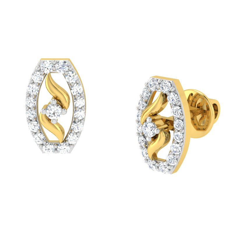 diamond studded gold jewellery - Aspen	 Earring Tops - Pristine Fire - 1