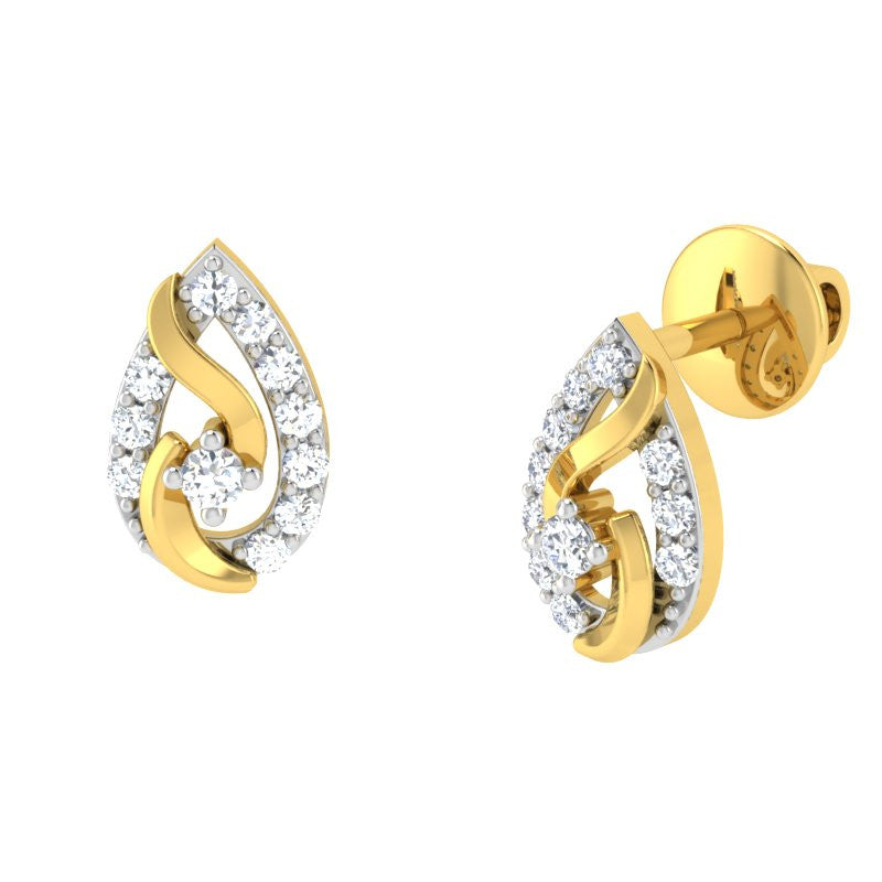 diamond studded gold jewellery - Autum	 Earring Tops - Pristine Fire - 1