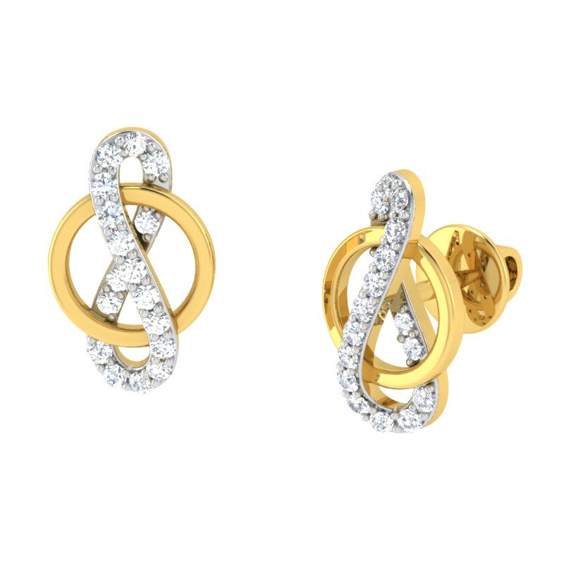 diamond studded gold jewellery - Aviva	 Earring Tops - Pristine Fire - 1