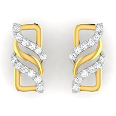 diamond studded gold jewellery - Avril	 Earring Tops - Pristine Fire - 2