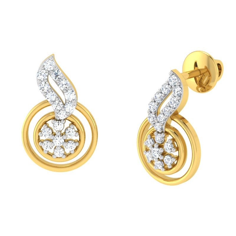 diamond studded gold jewellery - Ayame	 Earring Tops - Pristine Fire - 1