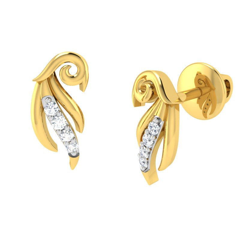 diamond studded gold jewellery - Ayana	 Earring Tops - Pristine Fire - 1