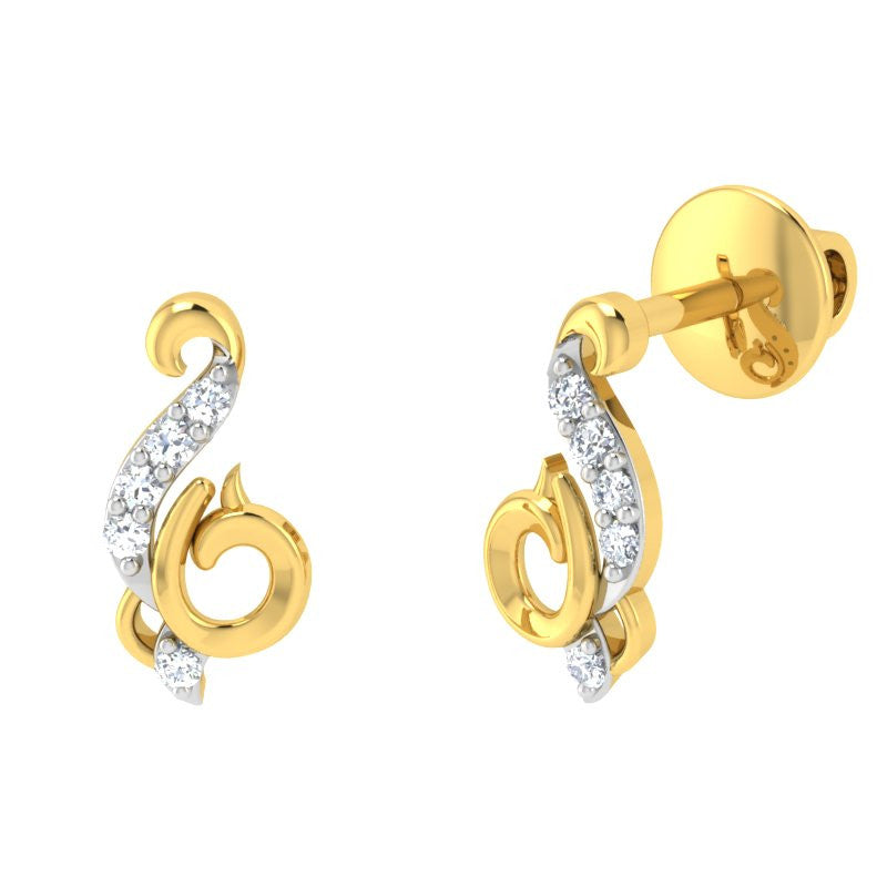 diamond studded gold jewellery - Aylin	 Earring Tops - Pristine Fire - 1
