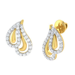 diamond studded gold jewellery - Azure	 Earring Tops - Pristine Fire - 1