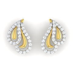 diamond studded gold jewellery - Azure	 Earring Tops - Pristine Fire - 2