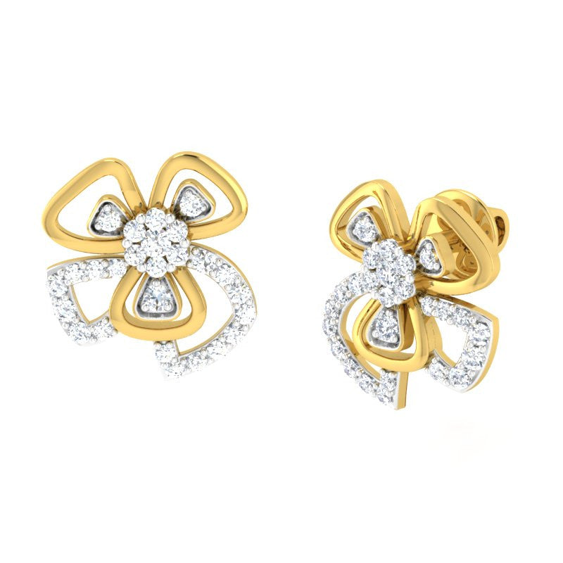 diamond studded gold jewellery - Becky Stud Earring - Pristine Fire - 1