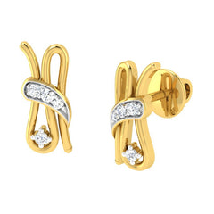 diamond studded gold jewellery - Belle Earring Tops - Pristine Fire - 1