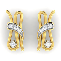diamond studded gold jewellery - Belle Earring Tops - Pristine Fire - 2