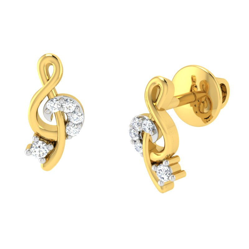 diamond studded gold jewellery - Berta Earring Tops - Pristine Fire - 1