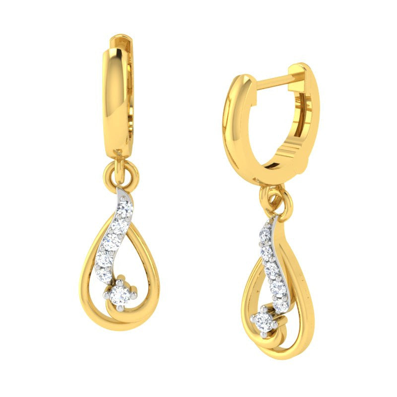 diamond studded gold jewellery - Beryl Bali Earring - Pristine Fire - 1