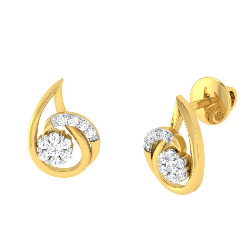 diamond studded gold jewellery - Betty Earring Tops - Pristine Fire - 1