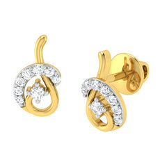 diamond studded gold jewellery - Bliss Earring Tops - Pristine Fire - 1