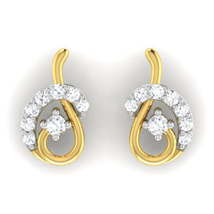 diamond studded gold jewellery - Bliss Earring Tops - Pristine Fire - 2