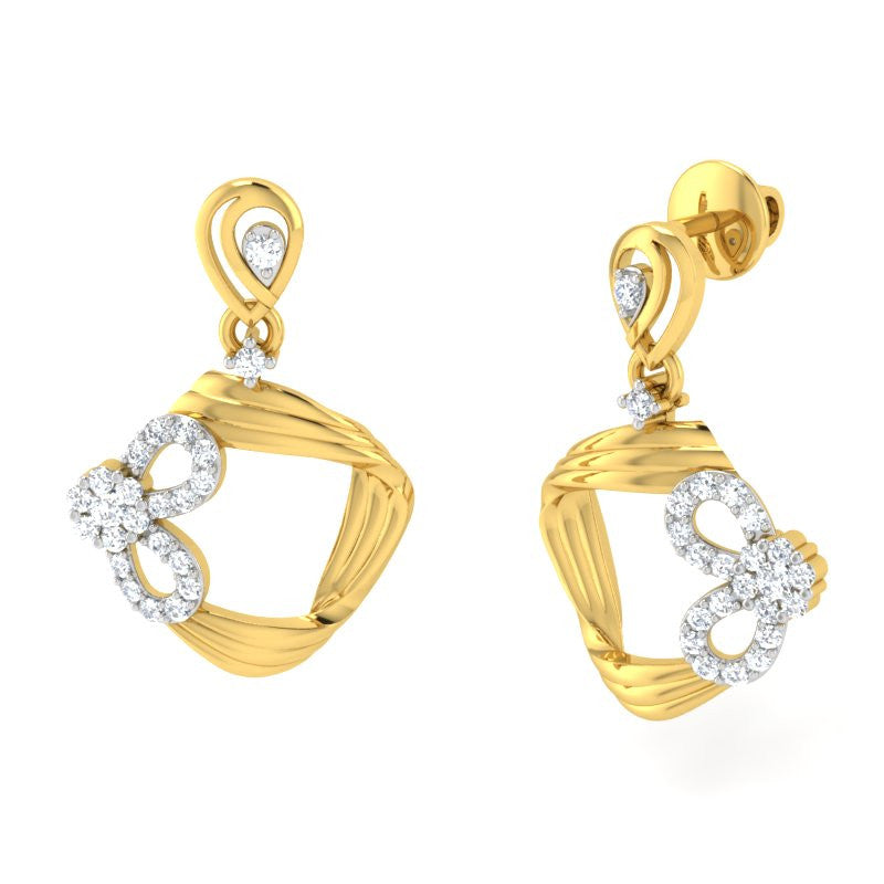 diamond studded gold jewellery - Kimiko Dangler Earring - Pristine Fire - 1