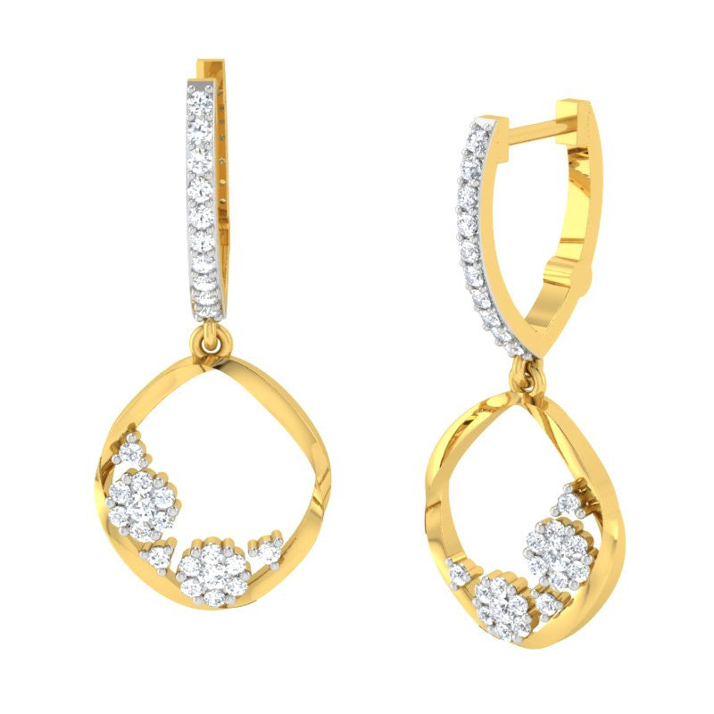 diamond studded gold jewellery - Ozara Dangler Earring - Pristine Fire - 1