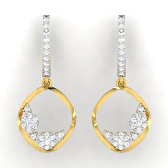 diamond studded gold jewellery - Ozara Dangler Earring - Pristine Fire - 2