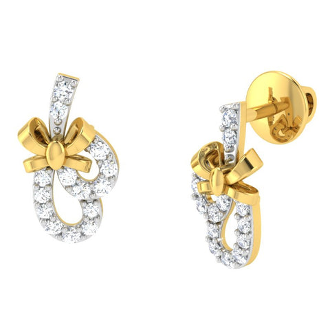 diamond studded gold jewellery - Volupia Earring Tops - Pristine Fire - 1