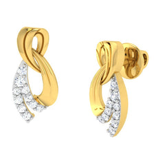 diamond studded gold jewellery - Ayako Earring Tops - Pristine Fire - 1