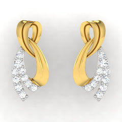 diamond studded gold jewellery - Ayako Earring Tops - Pristine Fire - 2
