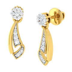 diamond studded gold jewellery - Melicent Dangler Earring - Pristine Fire - 1