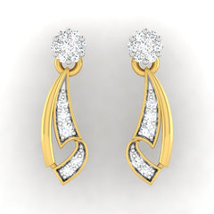 diamond studded gold jewellery - Melicent Dangler Earring - Pristine Fire - 2