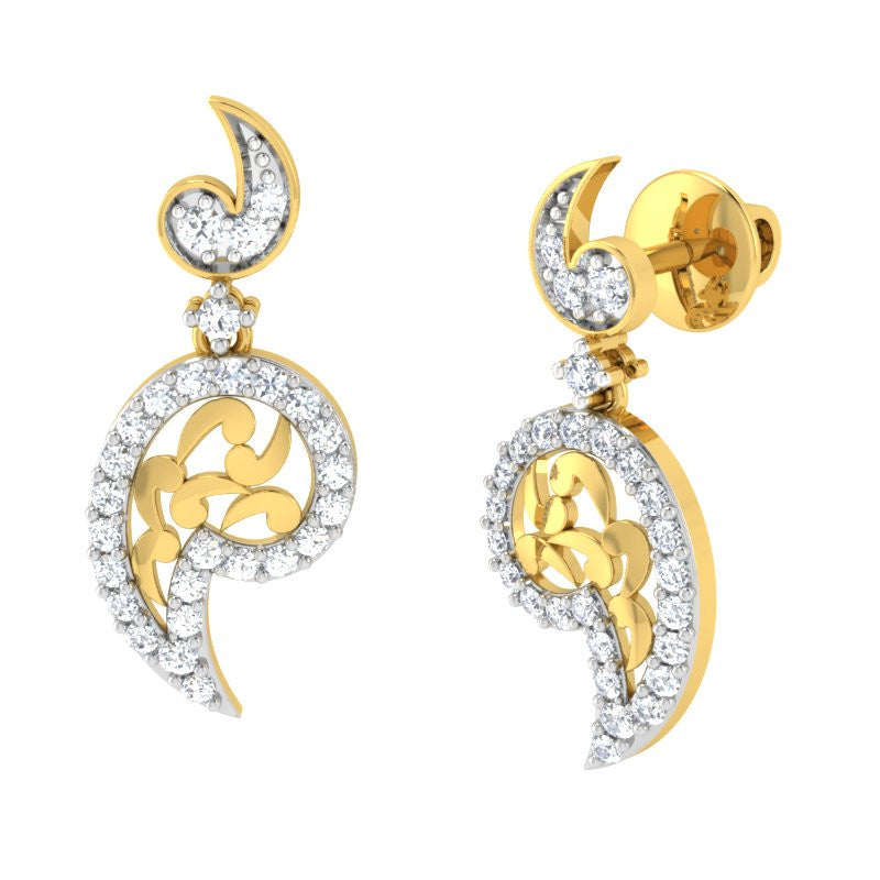 diamond studded gold jewellery - Raley Dangler Earring - Pristine Fire - 1